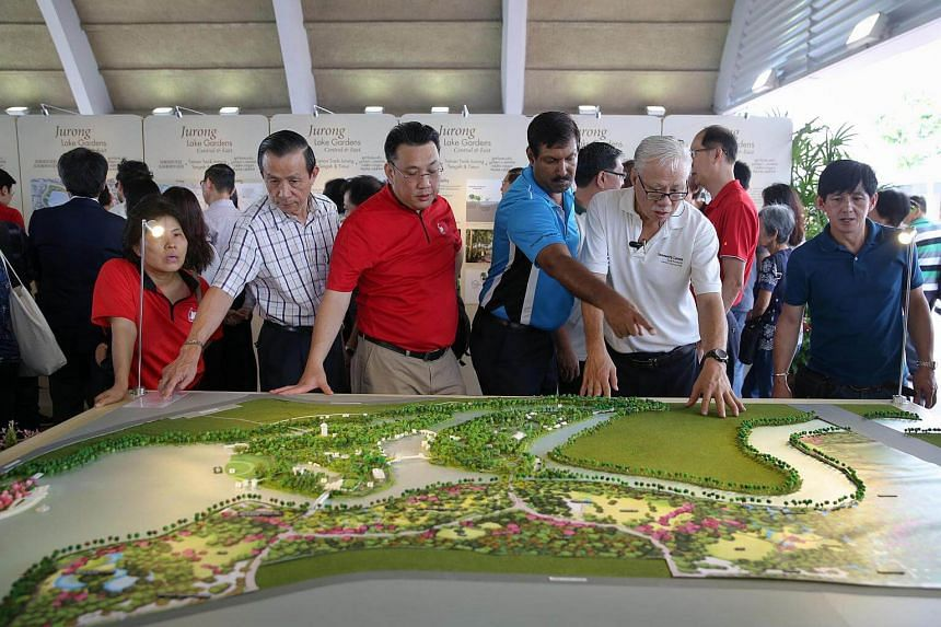 Residents looking at the model of the Jurong Lake Gardens masterplan.