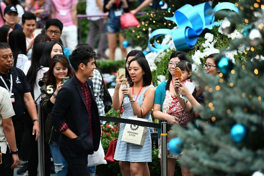 "Nathan Hartono walking beside the 11-metre-tall Christmas Tower situated amidst the ""Merry Medley"" floral display in the Flower Dome at Gardens by the Bay on Nov 27 2016."
