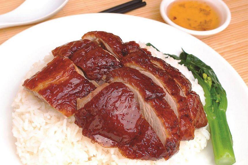 Duck rice from Kam's Roast Singapore.