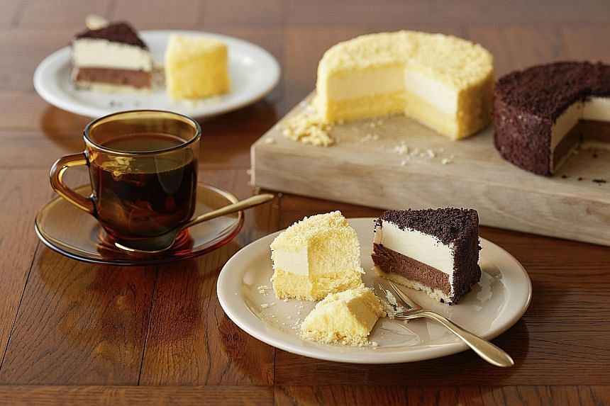 Hokkaido dessert chain LeTAO's signature two-layered double fromage cheesecake and Chocolat Double cake.