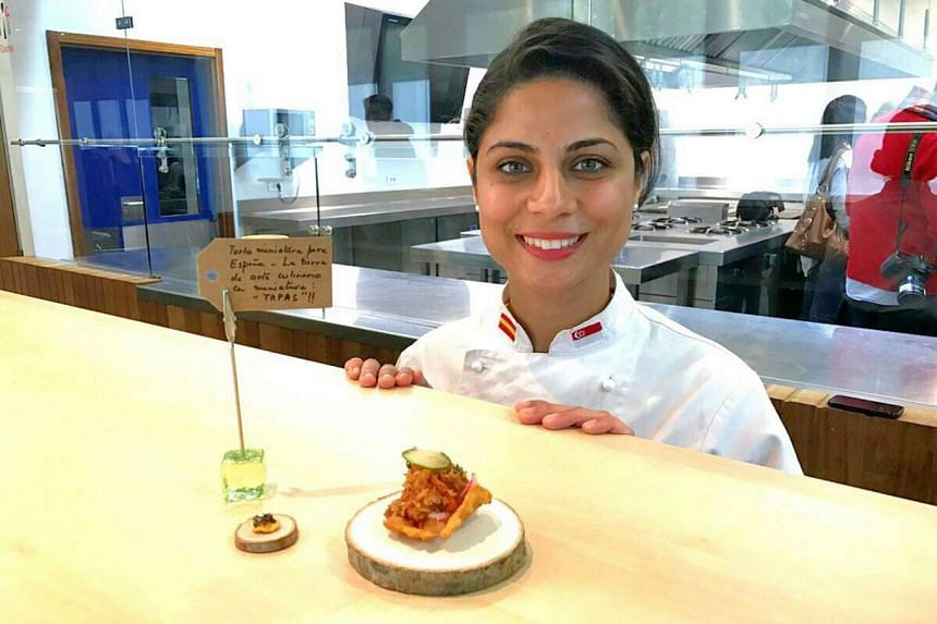 Ms Nayab Siddiqui with her winning dish, Torto Miniatura, accompanied by a miniature clay replica.