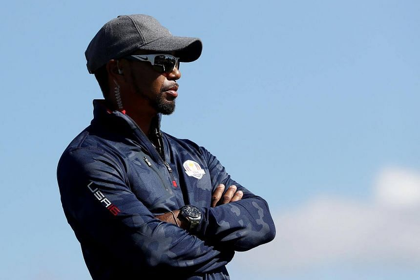 Vice-captain Tiger Woods of the United States looks on during practice prior to the 2016 Ryder Cup at Hazeltine National Golf Club on Sept 29, 2016, in Chaska, Minnesota.