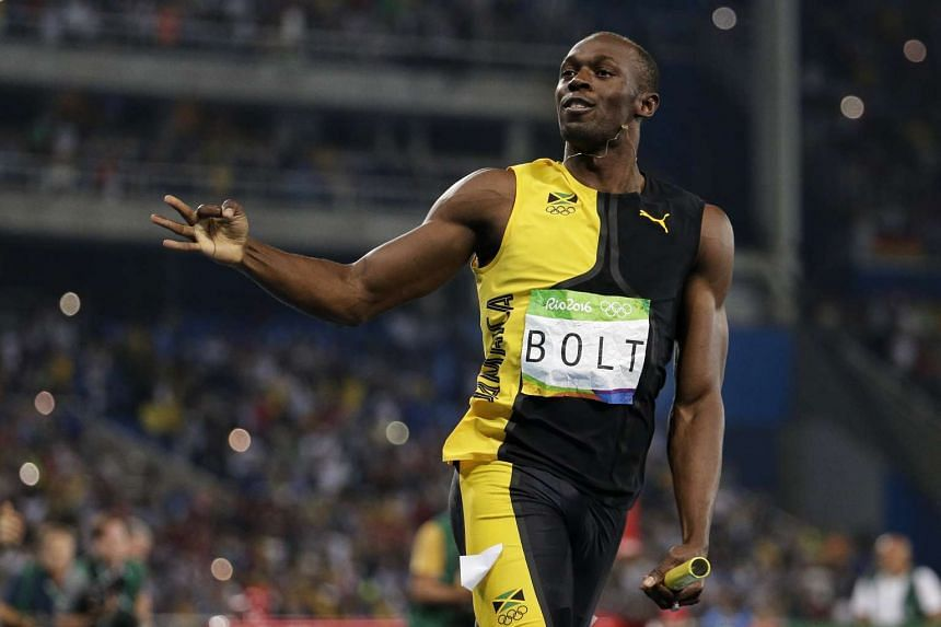 Usain Bolt gesturing after anchoring his team to win the Rio 2016 Olympic Games athletics men's 4x100m relay final, on Aug 19, 2016.