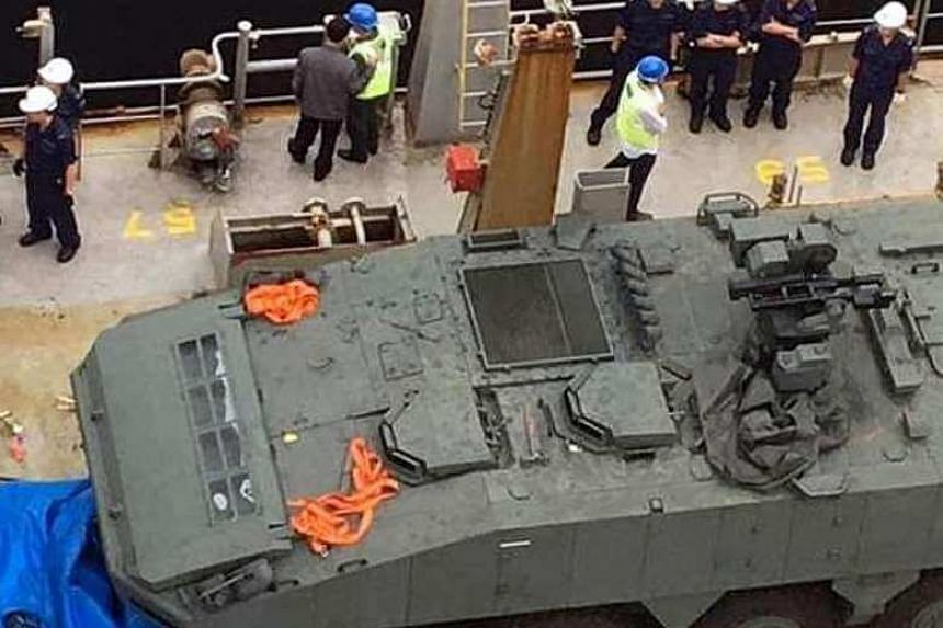 Nine Singapore-bound Terrex Infantry Carrier Vehicles were seized by Hong Kong Customs at a port on Nov 23.