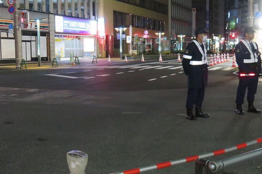 Police in Fukuoka blocked a busy street on Nov 26 as the road, which was hurriedly repaired after collapsing into a giant sinkhole earlier this month, was found to have sunken again.