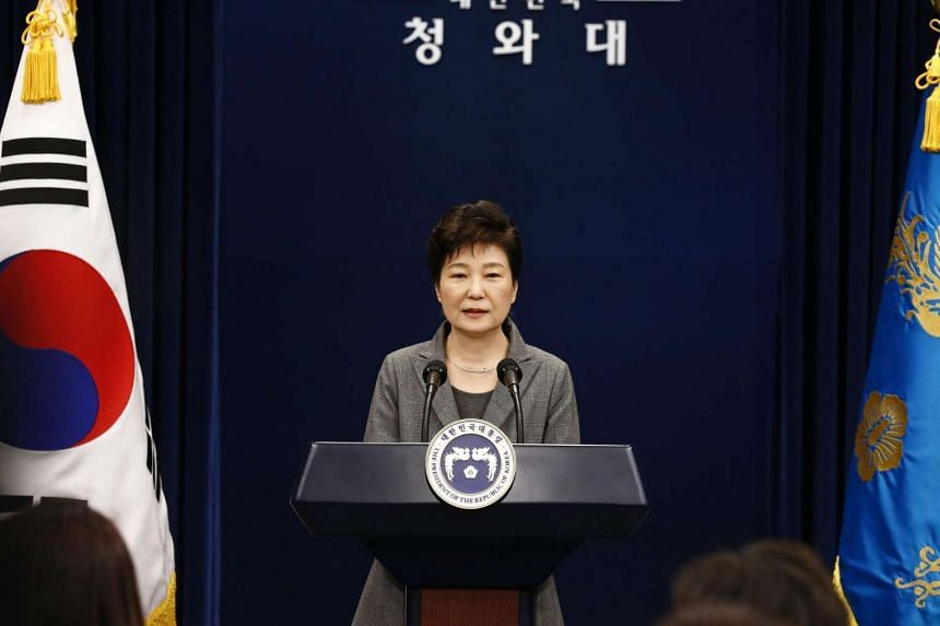 South Korean President Park Geun Hye speaks during an address to the nation at the presidential Blue House in Seoul, South Korea, on November 29, 2016.