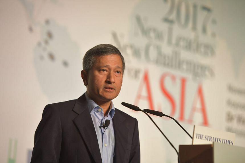 Singapore Foreign Minister Vivian Balakrishnan speaking at the forum.