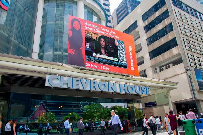 A Bloomberg Media live broadcast on the digital screen at Chevron House.