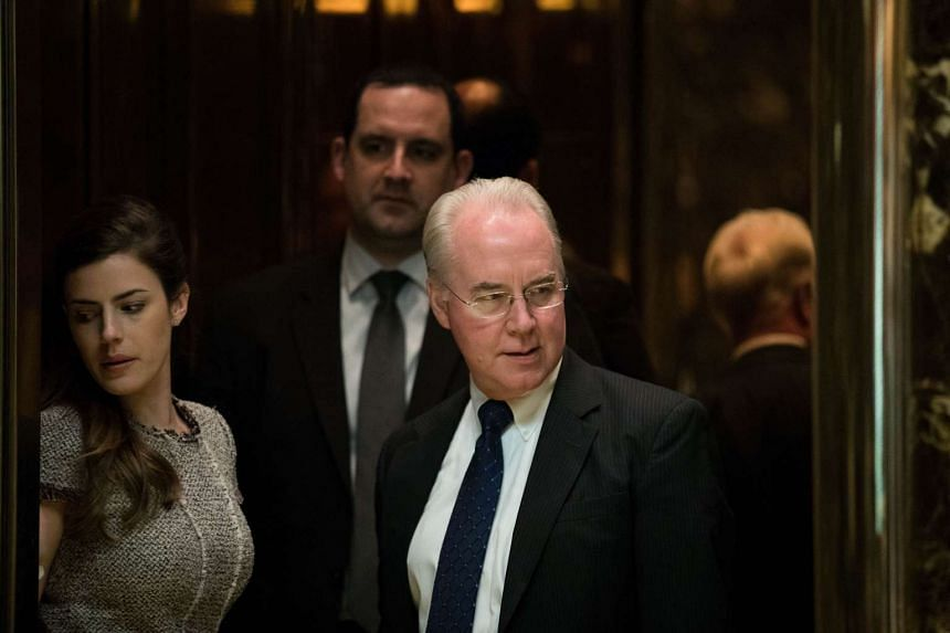 Republican US Representative Tom Price getting into an elevator at Trump Tower, on Nov 16, 2016, in New York City.