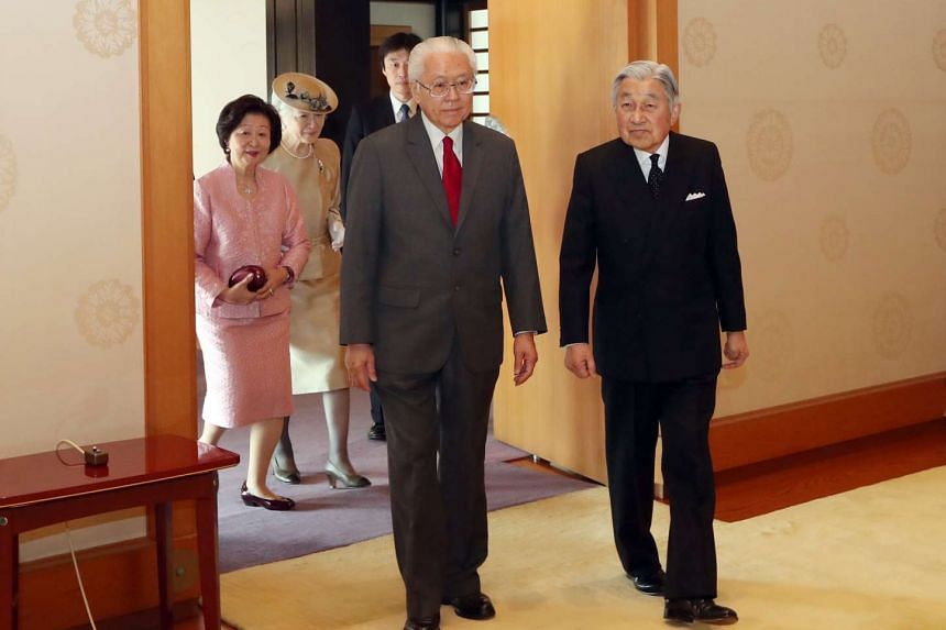 President Tony Tan Keng Yam and his wife, Mrs Mary Tan, were received by Japan's Emperor Akihito and Empress Michiko on Nov 30, 2016.