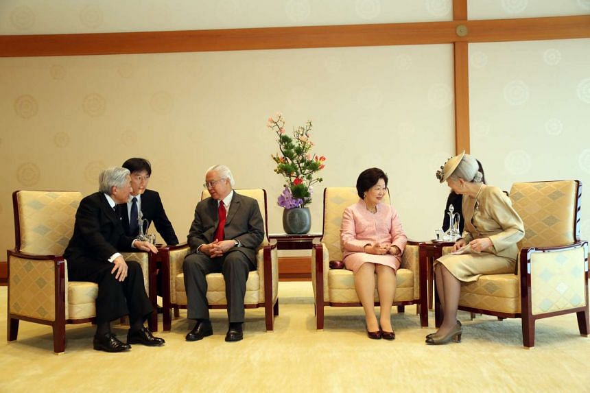 President Tony Tan Keng Yam and his wife, Mrs Mary Tan, had an audience with Japan's Emperor Akihito and Empress Michiko at the Imperial Palace in Tokyo on Nov 30, 2016.