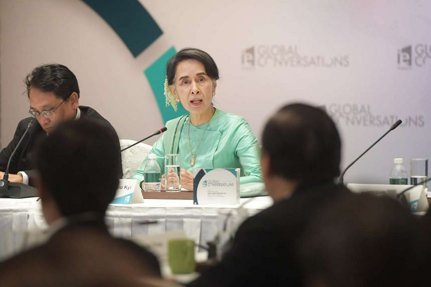Myanmar state counsellor Aung San Suu Kyi speaking at the IE Singapore's global conversations conference at the Shangri-La Hotel on Nov 30, 2016.