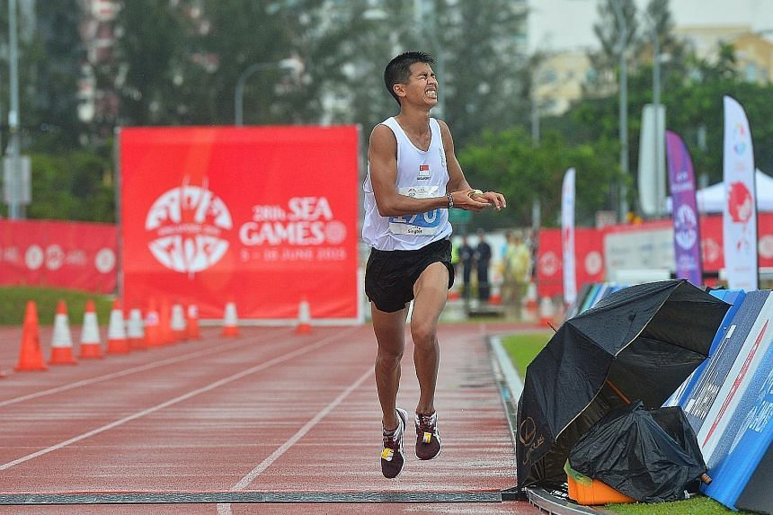 Clockwise from left: Ashley Liew crossing the finishing line in eighth spot in last year's SEA Games marathon. 2013 SEA Games marathon champion Mok Ying Ren has scaled down his training from twice to once a day owing to work and is using the SCMS to