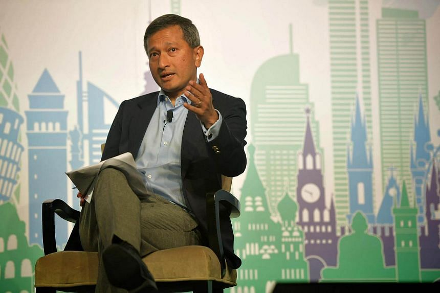 Dr Vivian Balakrishnan speaks during a panel discussion at The Straits Times Global Outlook Forum.