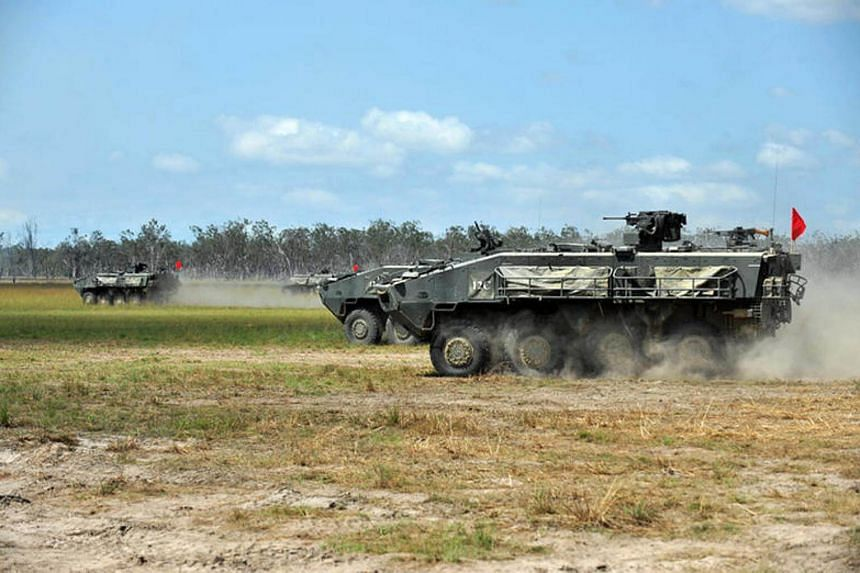 The Singapore Armed Forces' Terrex Infantry Carrier Vehicle being driven at the Shoalwater Bay training area in Rockhampton as part of Exercise Wallaby, in Queensland, Australia.