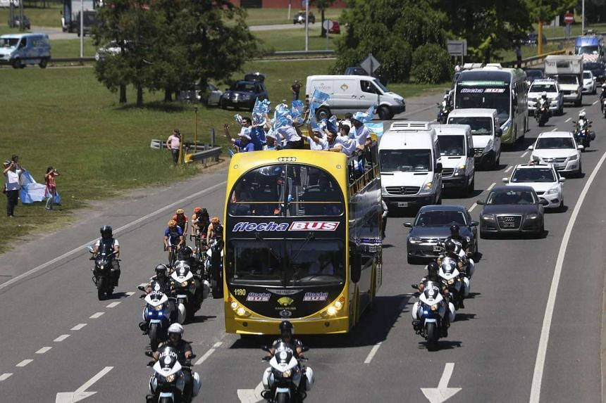 Argentina's tennis players on a motorcade as they return to Buenos Aires, Argentina on Nov 29, 2016.