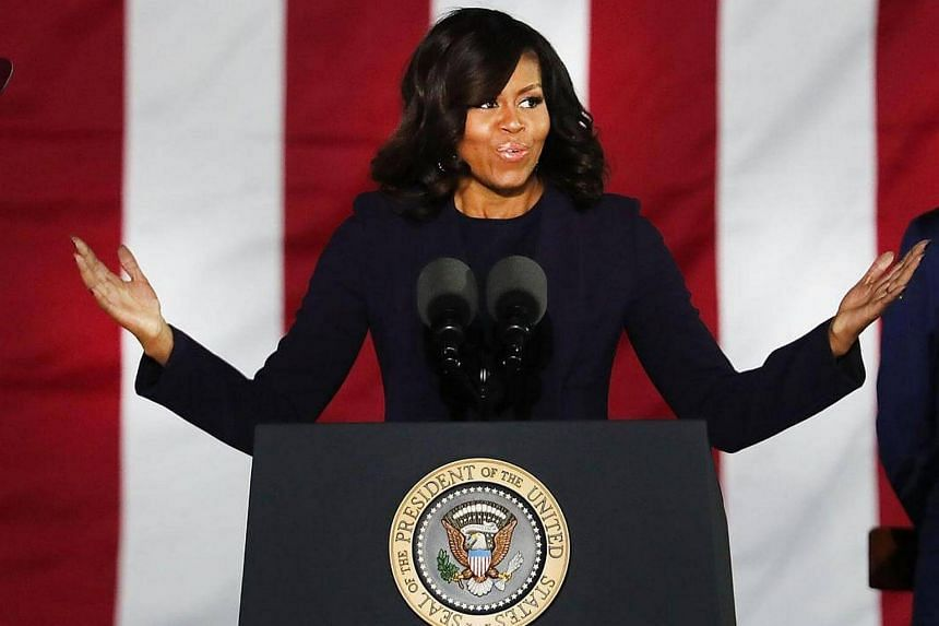 Mrs Michelle Obama speaking during an election eve rally in Philadelphia for Democratic presidential nominee former Secretary of State Hillary Clinton on Nov 7, 2016 in Philadelphia, Pennsylvania.