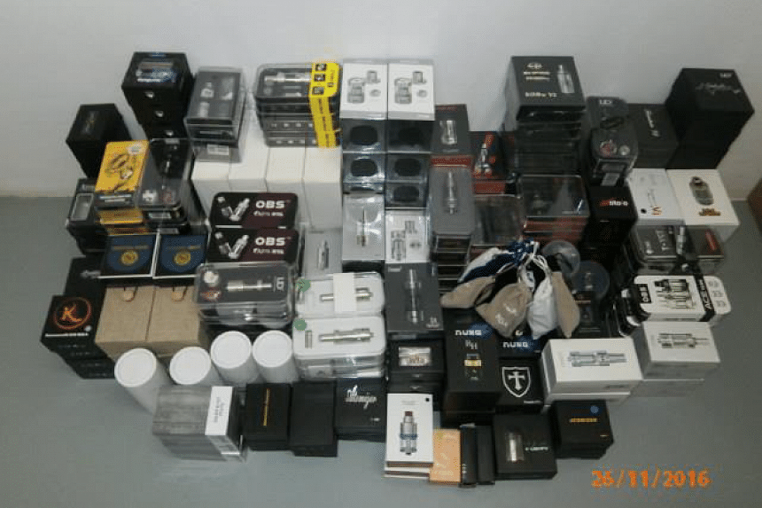 Prohibited vaporisers, worth about $50,000 in total, have been seized in a raid in the Serangoon North area on Nov 25, 2016.