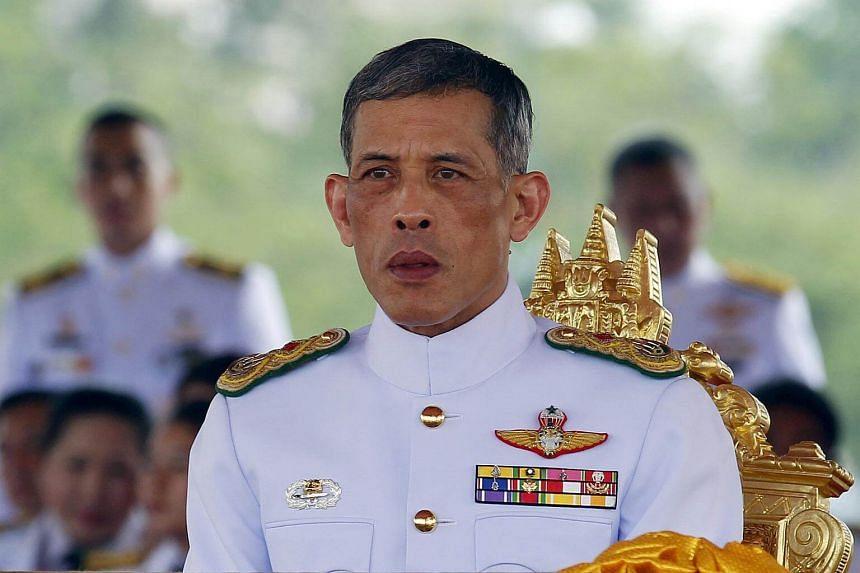 Thailand's Crown Prince Maha Vajiralongkorn watches the annual Royal Ploughing Ceremony in central Bangkok on May 13, 2015.
