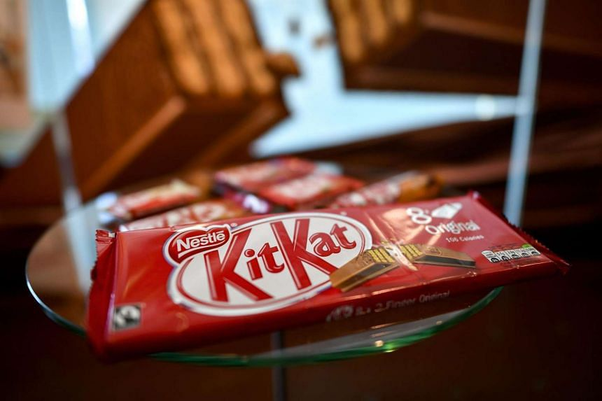 A pack of chocolate-covered wafer biscuit bar KitKat brand is displayed in the showroom of Swiss food giant's Nestle on Oct 20, 2016 in Vevey.
