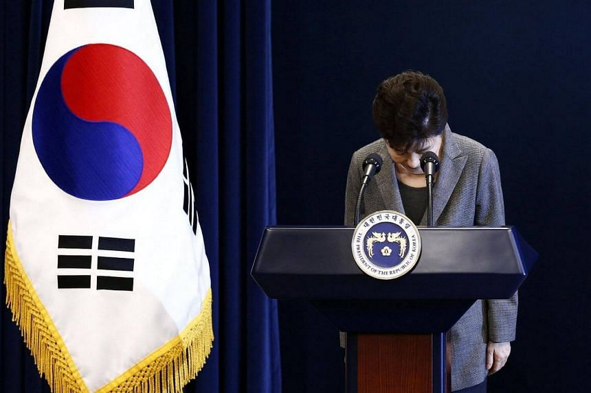 South Korean President Park Geun Hye bows during an address to the nation, at the presidential Blue House in Seoul, South Korea, on Nov 29, 2016.