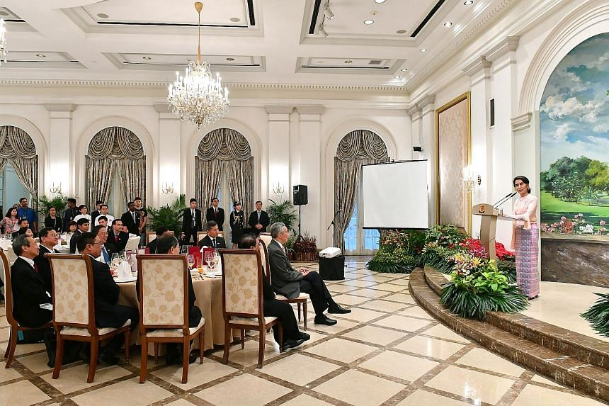 Ms Suu Kyi speaking at the dinner hosted by PM Lee at the Istana last night. She said her country is happy to learn from Singapore ways to control corruption and impart skill training to young workers. She added that she believes her country can over