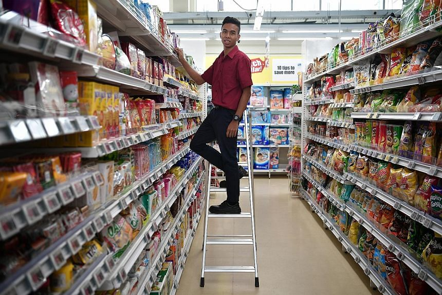 Mr Muhammad Rizuwan Abdullah, 20, a participant in the school-to-work transition programme for Sped graduates, now works at FairPrice. From February, special needs students can tap the Post-Secondary Education Account to pay for courses under SG Enab