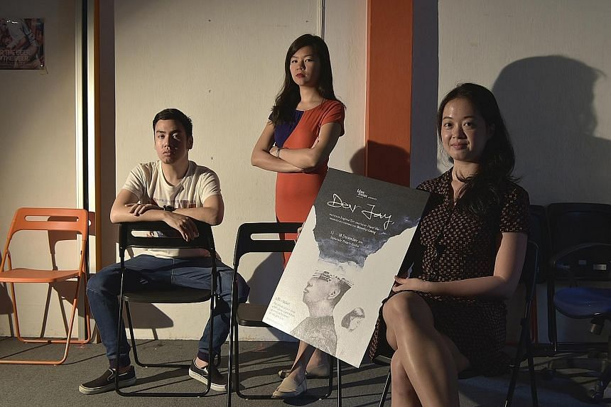 From left: Dear Jay's producer Benedict Leong, director Hazel Ho and playwright Euginia Tan. The play was inspired by Mr Leong and Ms Tan's correspondence with each other on their experiences with mental health. Mr Leong also acts as the play's chara