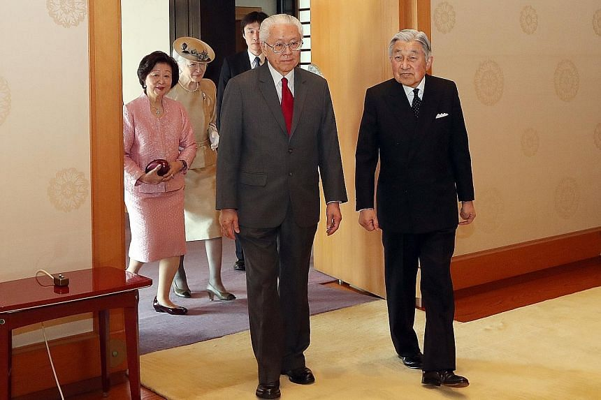 "President Tony Tan Keng Yam and his wife, Mary, with Emperor Akihito and Empress Michiko in Tokyo yesterday. Dr Tan, who is on a nine-day state visit to the country, said Singapore and Japan can ""reflect with great pride and satisfaction"" over the la"
