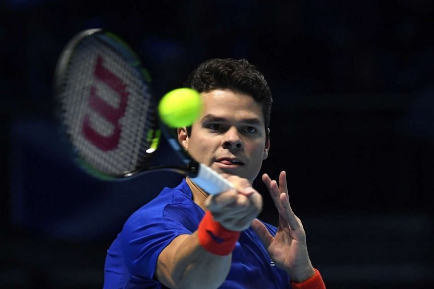 Canada's Milos Raonic in action during his semi final match against Great Britain's Andy Murray.