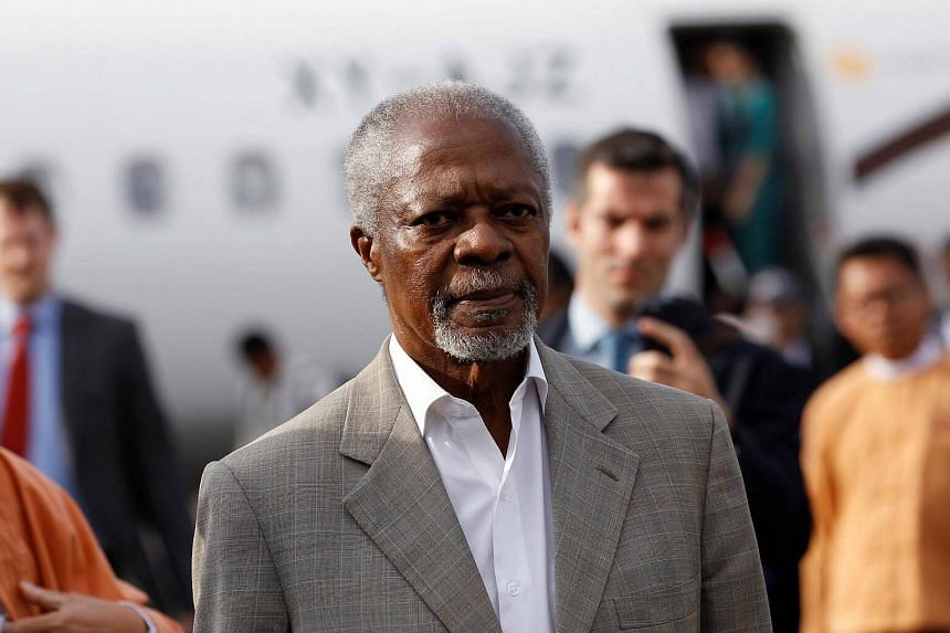 Former UN chief Kofi Annan arrives as he visits in his capacity as Myanmar government-appointed Chairman of the Advisory Commission on Rakhine State, at Sittwe airport, Rakhine state, Myanmar on Dec 2, 2016.