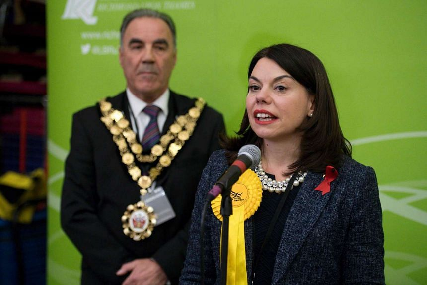 Newly elected Liberal Democrat MP for Richmond Park Sarah Olney speaks on stage after winning her seat in Richmond, south-west London, on Dec 2, 2016.