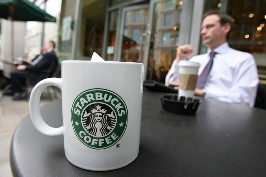 A Starbucks beverage on a table at a branch in London, Britain.