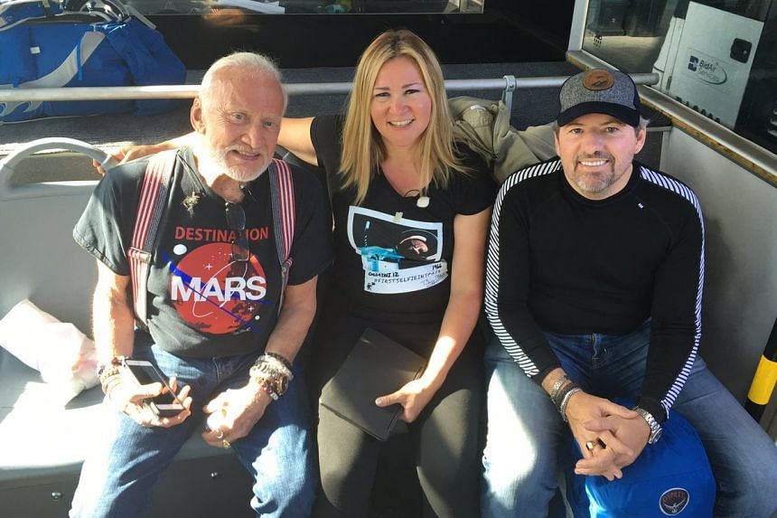 Buzz Aldrin (left) in a photo posted to his Twitter feed before his departure to Antarctica.