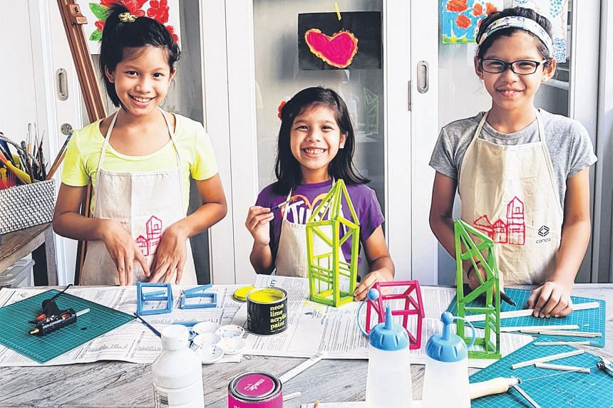 Three creative sisters - (from left) Safeeya, Syifa and Syadeeya - will be conducting craft sessions at the Esplanade during its Celebrate December festival.
