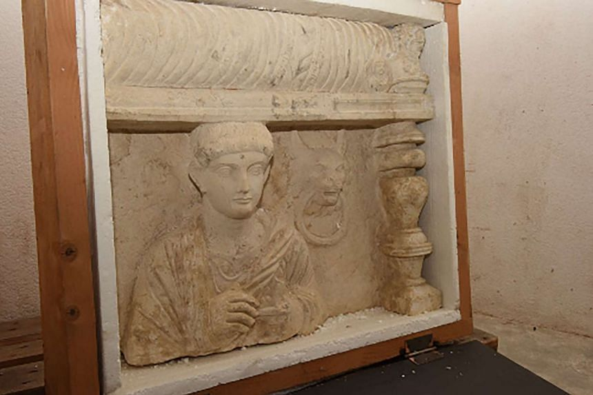 A funeral bas-relief from Palmyra in Syria discovered during a customs search in the free ports of Geneva.