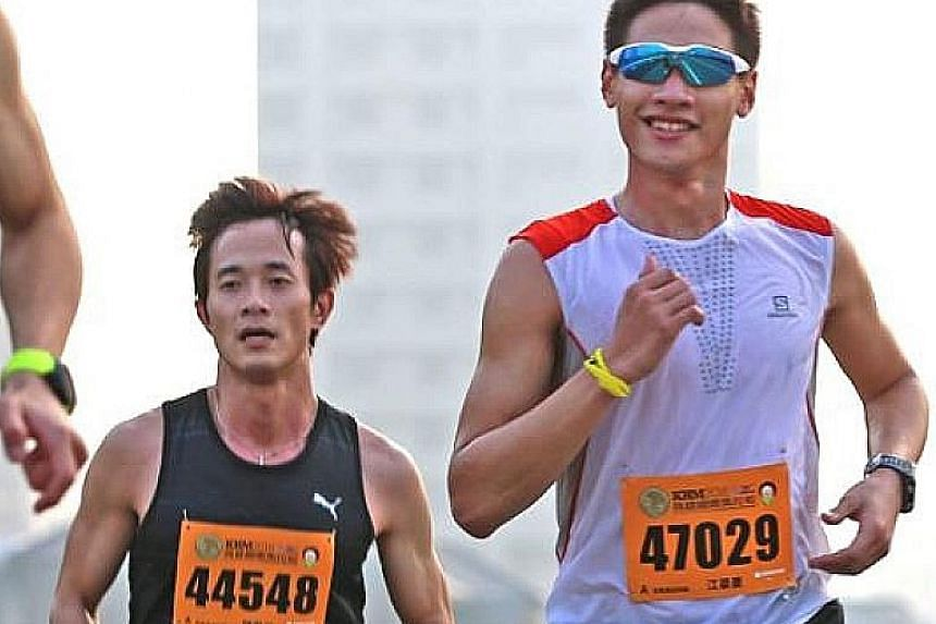 Professional runner Cliff Chiang (in shades) hopes to explore the Lion City, which he has not visited since he was eight.