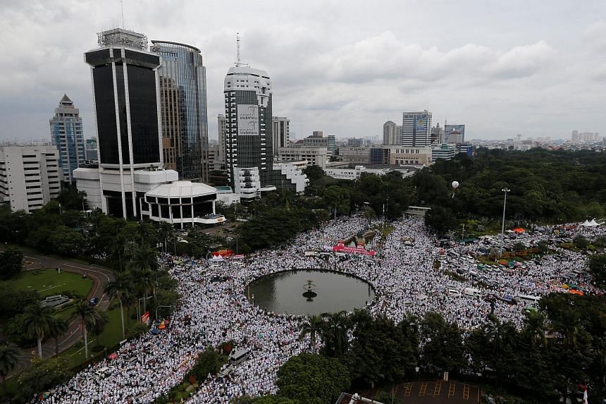 The rally at the National Monument in Jakarta yesterday was relatively peaceful even as thousands were forced to spill onto the streets due to the huge turnout. It was the third and largest protest against Basuki, widely known as Ahok, who was named