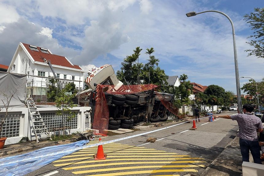 A full stop-work order has been issued, said MOM, following the mobile crane accident in Siglap Plain. The Straits Times understands no one was injured.
