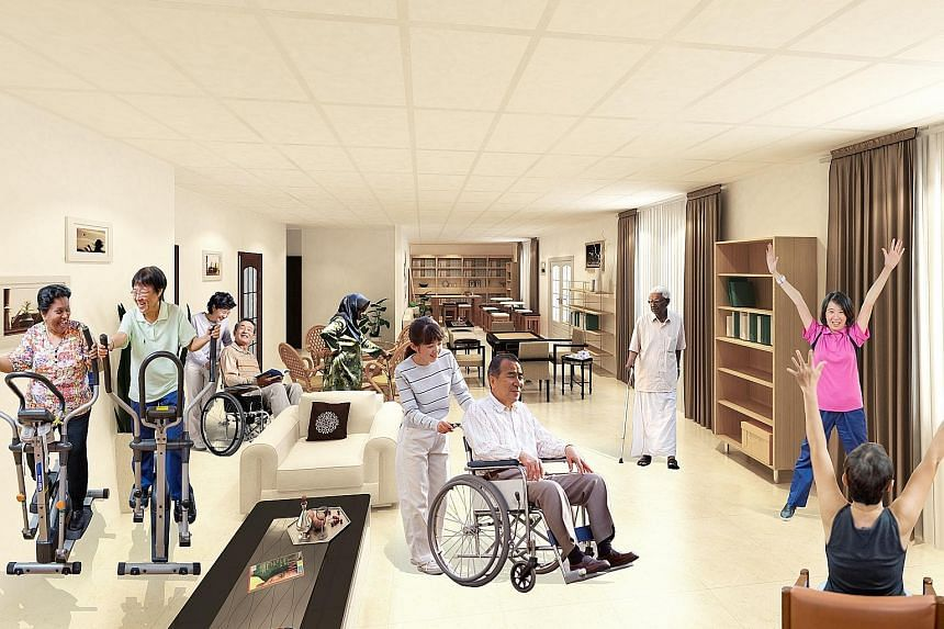 Artist's impression of what Kwong Wai Shiu Hospital's community care centres for seniors will look like when completed.