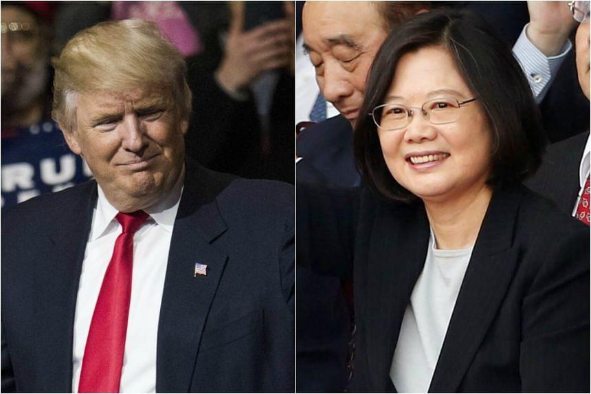 US president-elect Donald Trump (left) and Taiwan president Tsai Ing-wen.