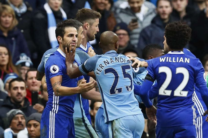 A brawl broke out between players from Chelsea and Manchester City following Sergio Aguero's flying tackle on David Luiz.