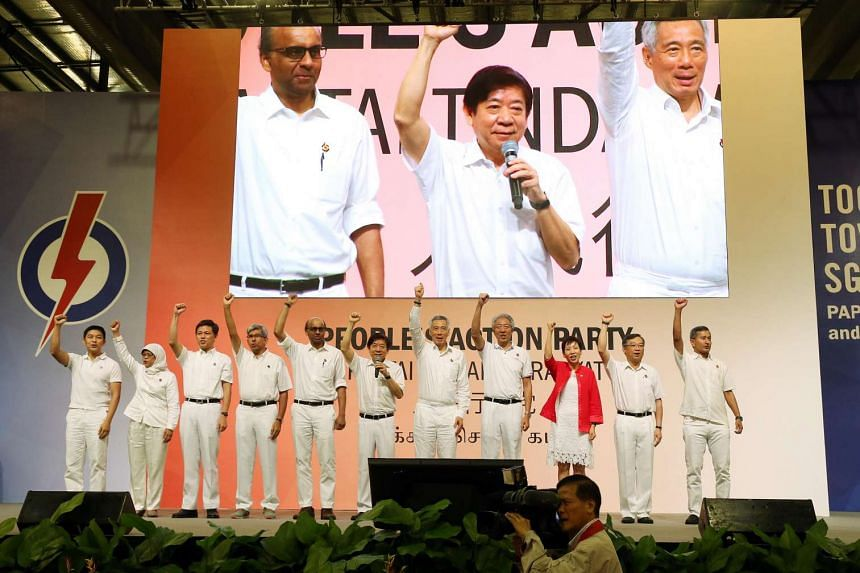 Prime Minister Lee Hsien Loong on stage with the rest of the People's Action Party's CEC members.