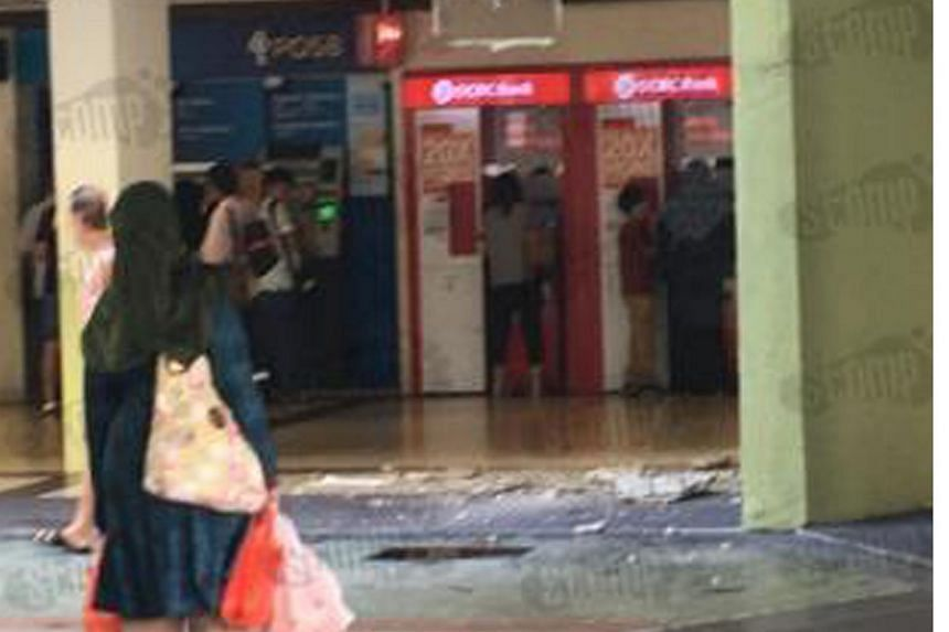 A section of the ceiling at Joo Chiat complex fell near people using ATMs in the shopping centre on Dec 2, 2016.