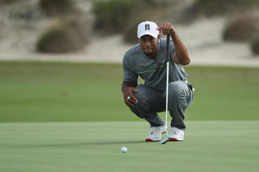 Tiger Woods of the United States lines up a putt on the ninth green during round three of the Hero World Challenge at Albany, The Bahamas on Dec 3, 2016 in Nassau, Bahamas.
