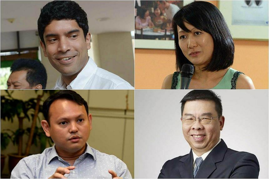 Clockwise from top left: Lawyer and Sembawang MP Vikram Nair, Institute of Policy Studies senior research fellow Carol Soon, Media Literacy Council chairman Lock Wai Han and Chua Chu Kang MP Zaqy Mohamad.