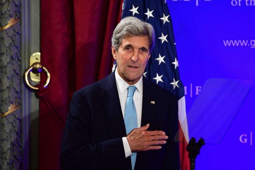 US State Secretary John Kerry gestures after delivering a speech at The German Marshall Fund in Brussels, on Oct 4, 2016.