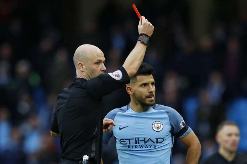 Manchester City's Sergio Aguero will have to serve out a four-match suspension after being sent off against Chelsea on Dec 3, 2016.