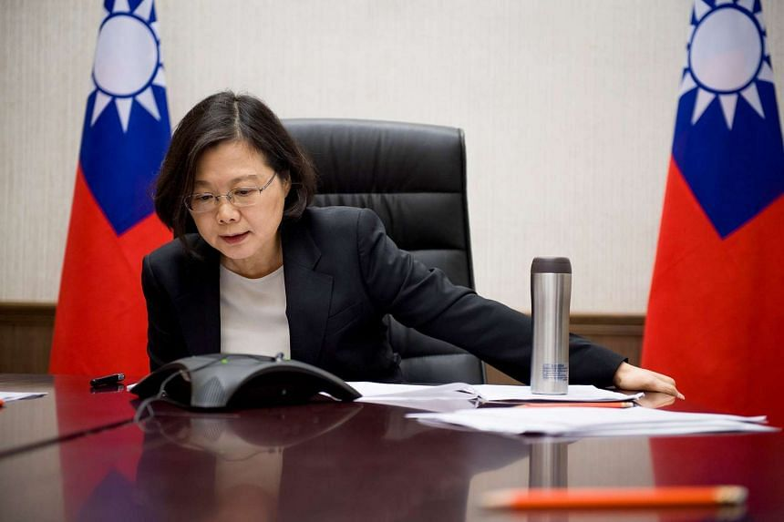 A handout photo of Taiwan's President Tsai Ing-wen speaking with US President-elect Donald Trump from her office in Taipei.