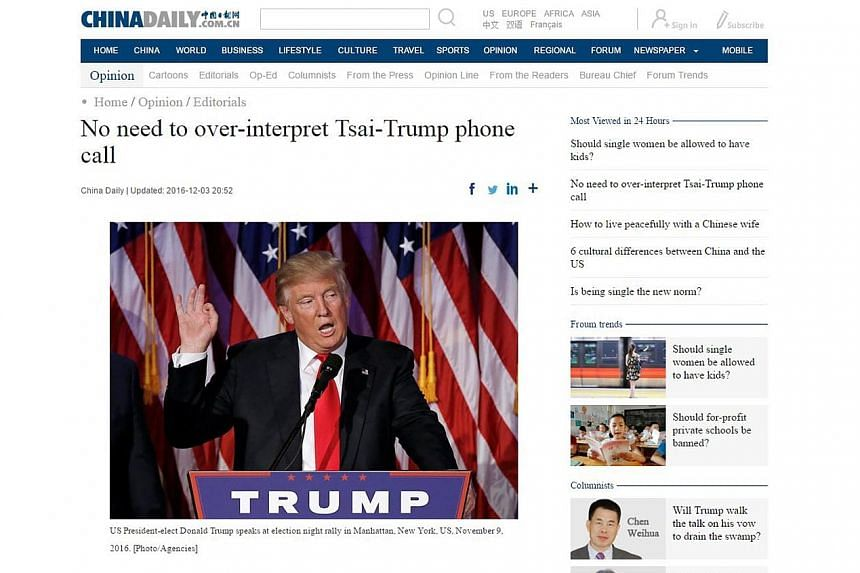 A screenshot of the China Daily website (left) dismissing the importance of the Trump-Tsai call. The Global Times website says that if Mr Trump oversteps the One-China principle, he will destroy Sino-US ties.